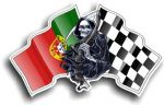 DEATH The Grim Reaper Design With Portugal Portuguese Flag Motif Vinyl Car Sticker 130x80mm